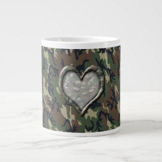 Camouflage Woodland Forest Heart on Camo Large Coffee Mug