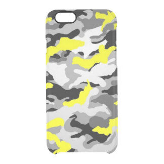 Camouflage Yellow Black Como Army Military Print Clear iPhone 6/6S Case