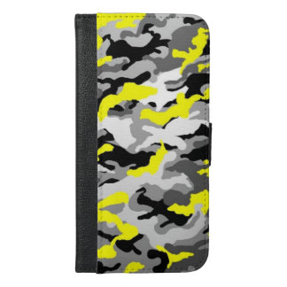 Camouflage Yellow Black Como Army Military Print iPhone 6/6s Plus Wallet Case