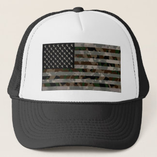 Camouflaged American Flag Trucker Hat