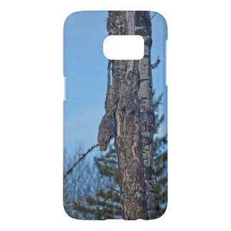 Camouflaged Great Grey Owl and Tree Wildlife Photo Samsung Galaxy S7 Case