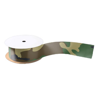 Camouflaged green and brown military satin ribbon