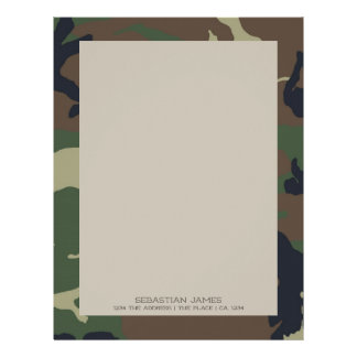 Camouflaged Green Brown Pattern Personalized Letterhead