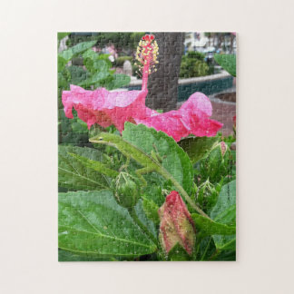 Camouflaged Lizard Below Pink Hibiscus Photograph Jigsaw Puzzle