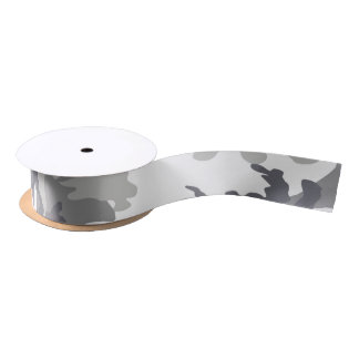 Camouflaged White and Grey military Satin Ribbon
