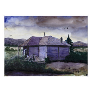 Camp Creek School Watercolor Poster