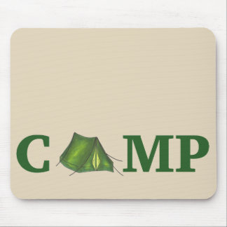 CAMP Green Camping Outdoor Tent Hiking Summer Camp Mouse Pad