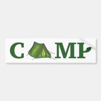 CAMP Green Tent Summer Camping Bumper Sticker