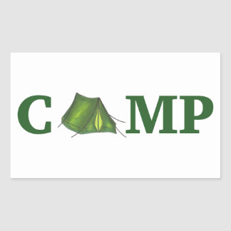 Camp Green Tent Summer Camping Hiking Sticker