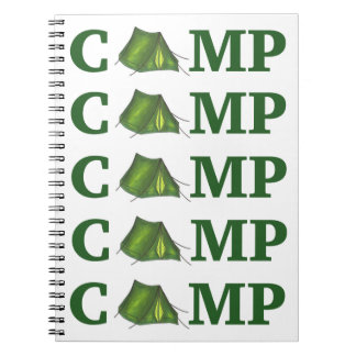 CAMP Green Tent Summer Camping Summer Camper Gift Notebooks