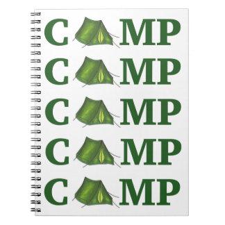 CAMP Green Tent Summer Camping Summer Camper Gift Spiral Note Books