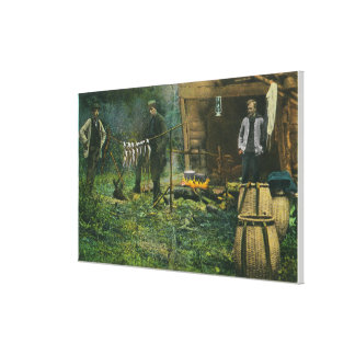 Camp Ground Scene of Men Camping in Maine Canvas Prints