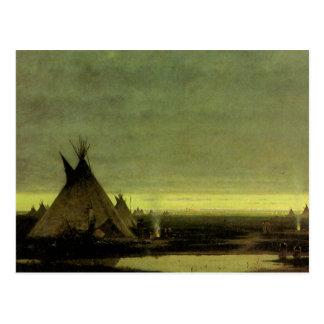 Camp indien à l aube par Jules Tavernier Carte Postale