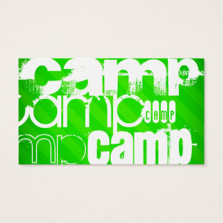 Camp; Neon Green Stripes Business Card