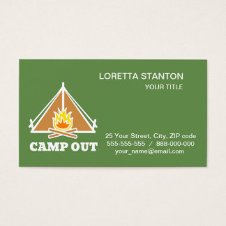 Camp out business card