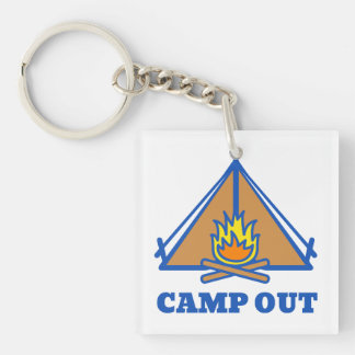 Camp out Double-Sided square acrylic keychain