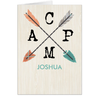 Camp Personalize Name Arrows on Wood Pattern Card