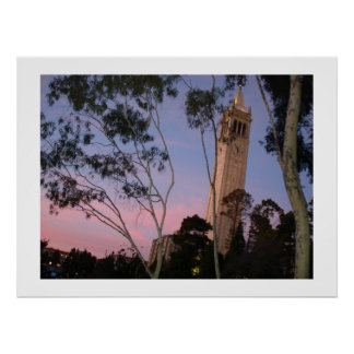 Campanile Sunset Poster, Illuminated at Dusk Poster