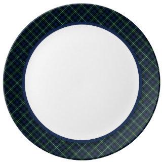 Campbell Clan Navy Blue Scottish Tartan Plate