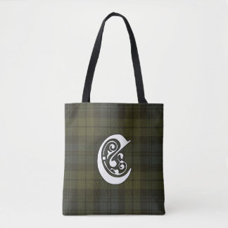 Campbell Clan Tartan Monogram Tote Bag