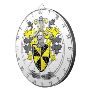 Campbell Family Crest Coat of Arms Dartboard With Darts