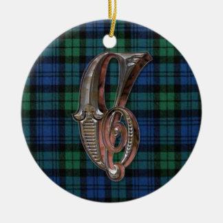 Campbell Plaid Monogram ornament