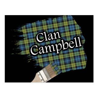 Campbell Scottish Tartan Paint Brush Postcard