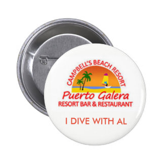 Campbell's Beach Resort, I Dive With Al 2 Inch Round Button