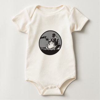 Camper Campfire Cup of Coffee Circle Woodcut Baby Bodysuit