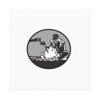 Camper Campfire Cup of Coffee Circle Woodcut Canvas Print