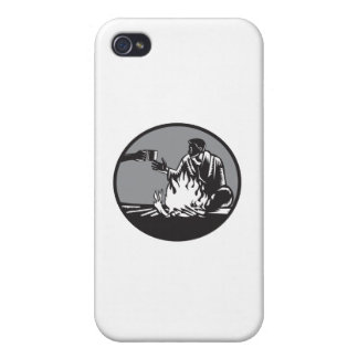 Camper Campfire Cup of Coffee Circle Woodcut Cover For iPhone 4