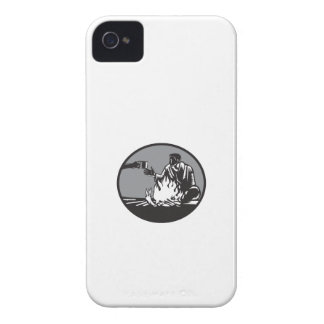 Camper Campfire Cup of Coffee Circle Woodcut iPhone 4 Case-Mate Cases