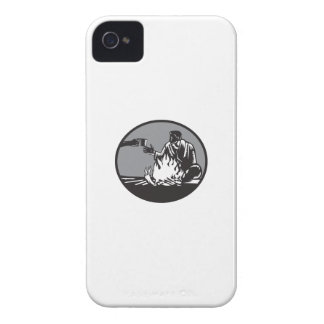 Camper Campfire Cup of Coffee Circle Woodcut iPhone 4 Cases