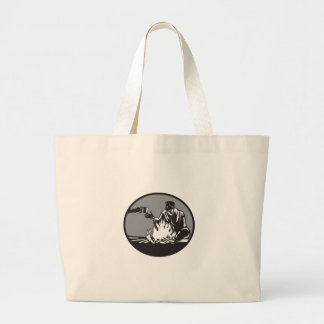 Camper Campfire Cup of Coffee Circle Woodcut Large Tote Bag