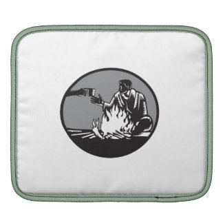 Camper Campfire Cup of Coffee Circle Woodcut Sleeves For iPads