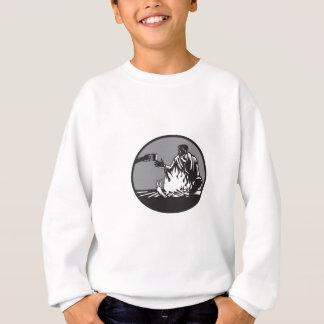 Camper Campfire Cup of Coffee Circle Woodcut Sweatshirt