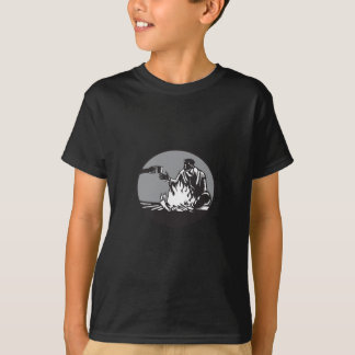 Camper Campfire Cup of Coffee Circle Woodcut T-Shirt