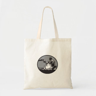 Camper Campfire Cup of Coffee Circle Woodcut Tote Bag
