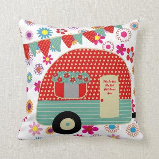 Camper Caravan Sayings Retro Red Green Custom Throw Pillow