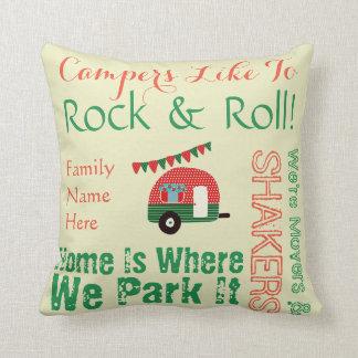 Camper Caravan Sayings Retro Red Green Wordcloud Throw Pillow