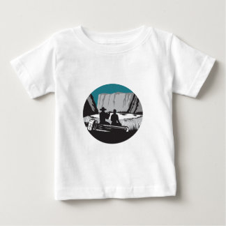 Camper Reading Sitting on Log Oval Woodcut Baby T-Shirt