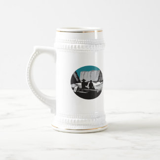 Camper Reading Sitting on Log Oval Woodcut Beer Stein