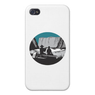 Camper Reading Sitting on Log Oval Woodcut Case For iPhone 4