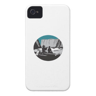 Camper Reading Sitting on Log Oval Woodcut Case-Mate iPhone 4 Cases