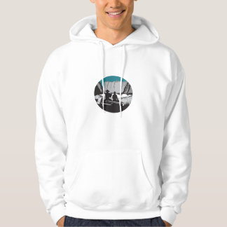 Camper Reading Sitting on Log Oval Woodcut Hoodie