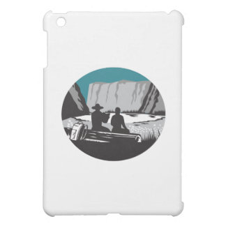 Camper Reading Sitting on Log Oval Woodcut iPad Mini Cover