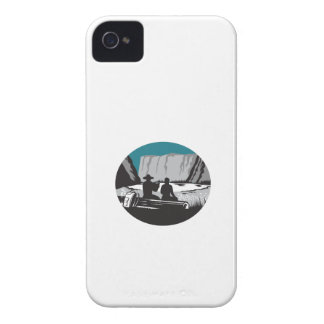 Camper Reading Sitting on Log Oval Woodcut iPhone 4 Covers