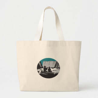 Camper Reading Sitting on Log Oval Woodcut Large Tote Bag