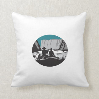 Camper Reading Sitting on Log Oval Woodcut Throw Pillow