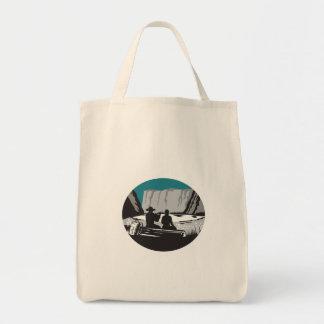 Camper Reading Sitting on Log Oval Woodcut Tote Bag